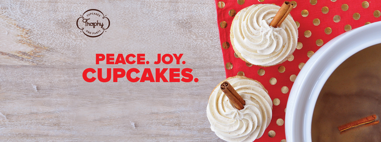 Peace Joy Cupcakes - Hot Buttered Rum