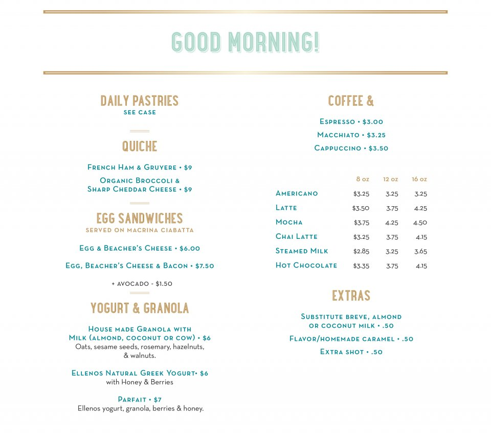 Cafe Trophy Morning Menu