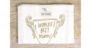 World's Best Mom Trophy Tea Towel