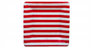 Red and White Striped Dessert Plates