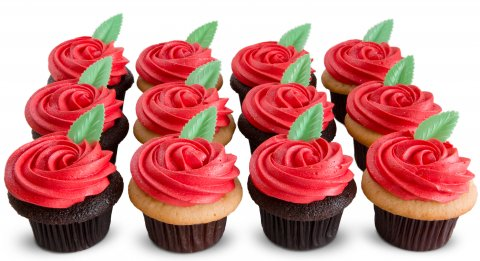 One Dozen Red Rose Cupcakes