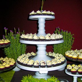 Wedding Cupcake Display - White Towers with Minis and Grass