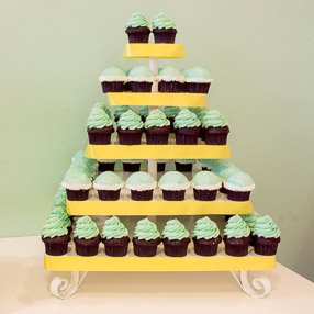 Wedding Cupcake Display - Blue Buttercream with Yellow Ribbons