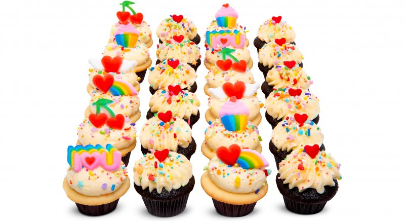 Rainbow Love Mini Cupcakes