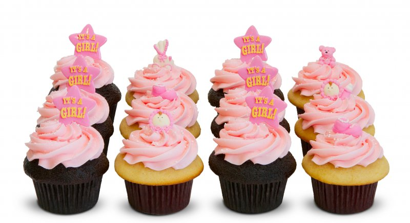 Attractive Girl Baby Shower Cupcakes