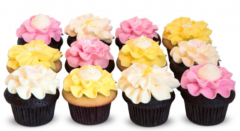 One Dozen Trophy Flower Cupcakes