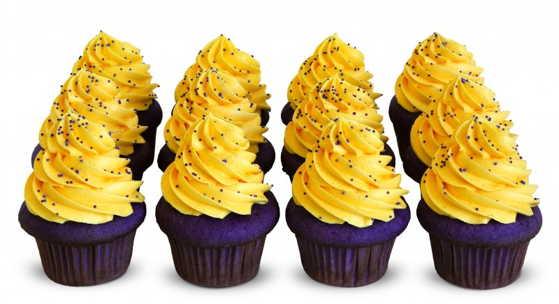Huskies Purple and Gold Cupcakes