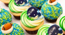 Seahawks Cupcakes with Helmet and Footballs