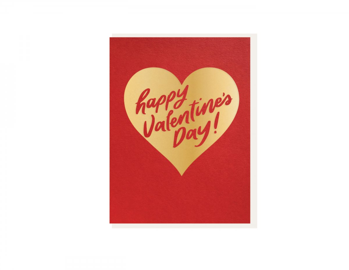 gold heart happy valentines day card