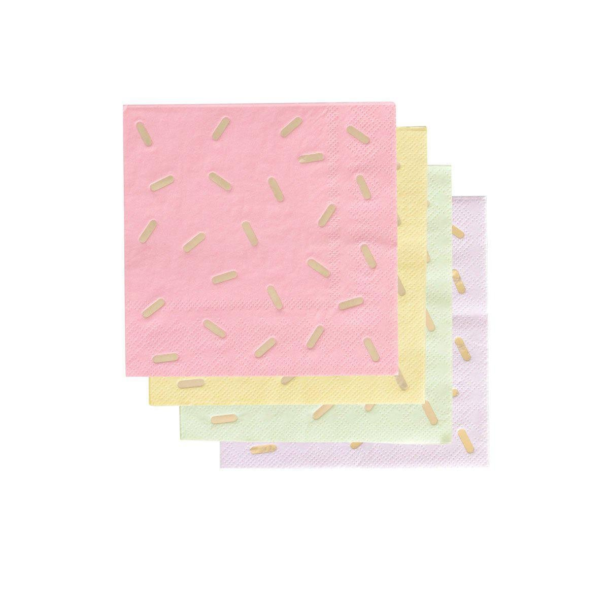 pastel cocktail napkins with gold sprinkles
