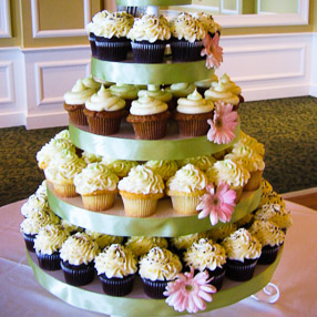 Wedding Cupcake Display - White Buttercream with Pink Flowers